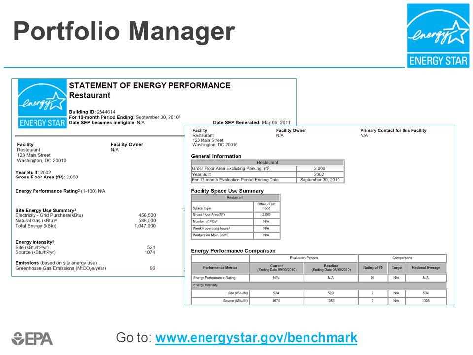 Portfolio Manager Go to: www.energystar.gov/benchmarkwww.energystar.gov/benchmark