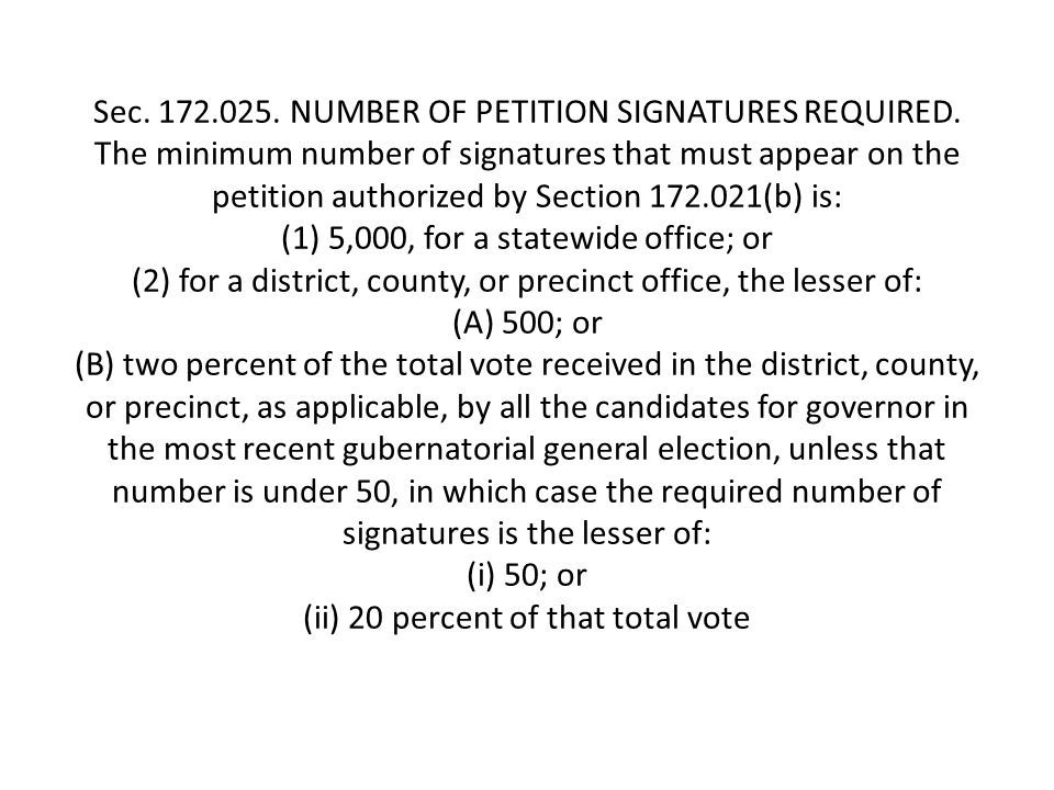 Sec. 172.025. NUMBER OF PETITION SIGNATURES REQUIRED.