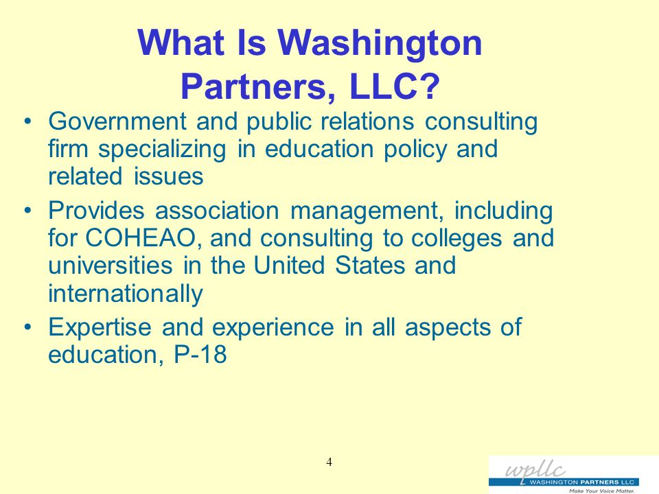 4 What Is Washington Partners, LLC.
