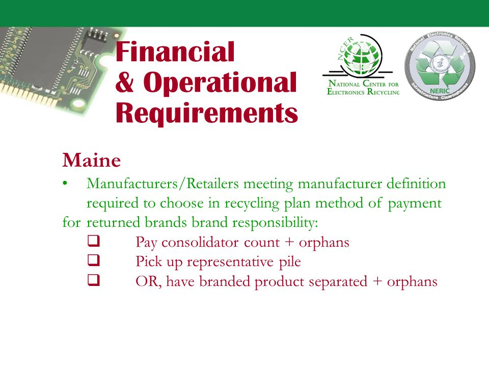 Financial & Operational Requirements California Manufacturers collect/remit ARF on direct sales, retain 3% Manufacturers required to annually notify retailers of products covered by ARF.
