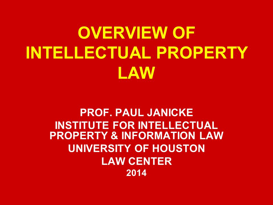 OVERVIEW OF INTELLECTUAL PROPERTY LAW PROF.