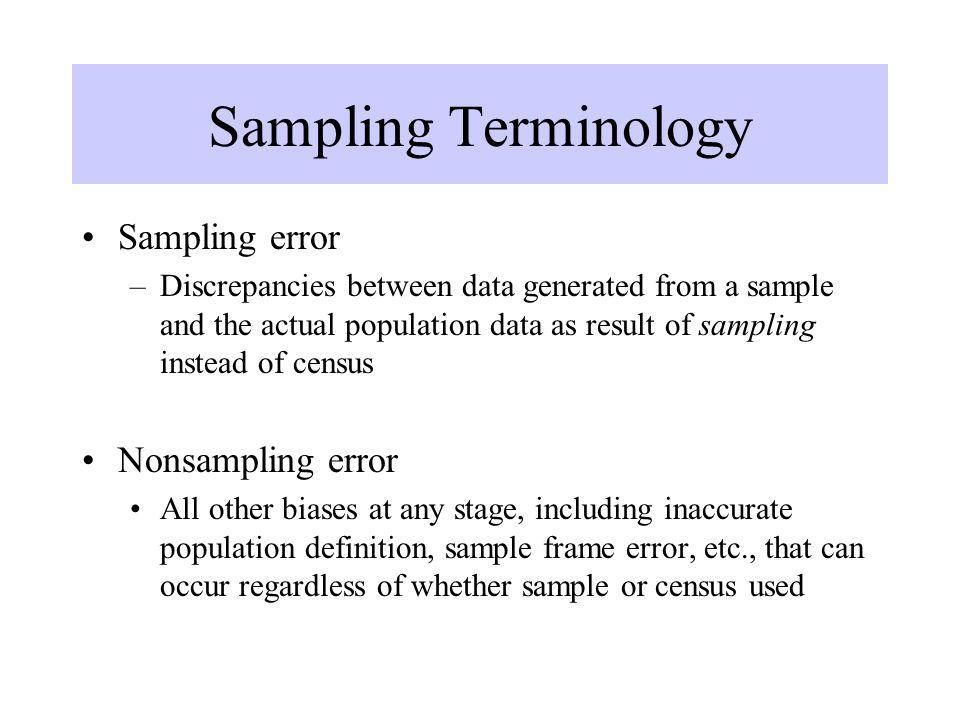 Sampling Terminology Sampling error –Discrepancies between data generated from a sample and the actual population data as result of sampling instead o