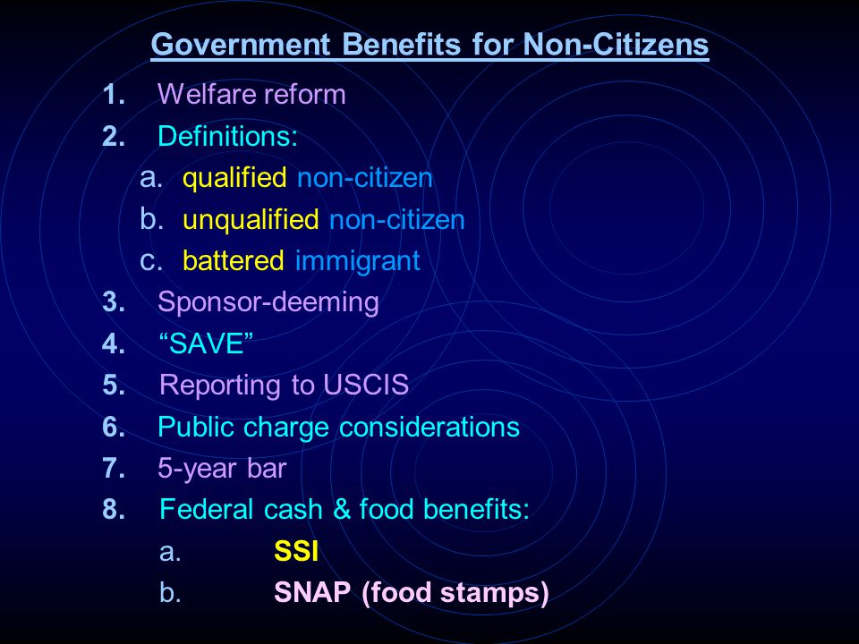 9.State & federal/state cash & food benefits a.