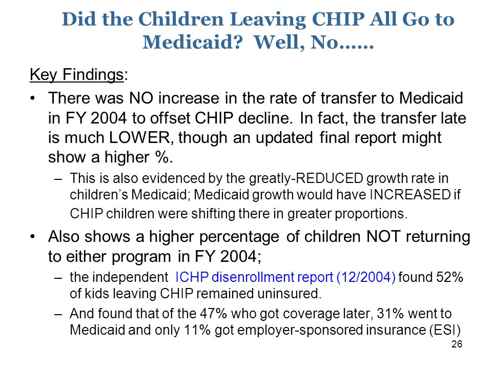26 Did the Children Leaving CHIP All Go to Medicaid.