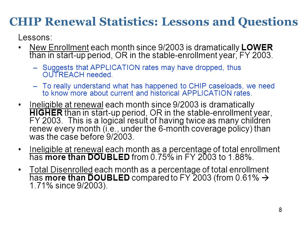 19 Regional CHIP Enrollment Declines: Lessons and Questions Second table: Regional Enrollment Decline Compared to Statewide Average Statewide decline more than one-third (36.3%); BUT largest urban areas: D-FW; Houston, Austin, San Antonio experienced lower rates of decline, AND rates of decline everywhere else dramatically higher; –Northwest Texas looks especially bad –But all of rural, south, and border areas have had a disproportionate loss in coverage Repeat Hypothesis: Is this related to continued community-based outreach efforts in the big cities, while Legislature/HHSC's discontinuation of outreach and marketing left the rest of the state at a relative disadvantage?