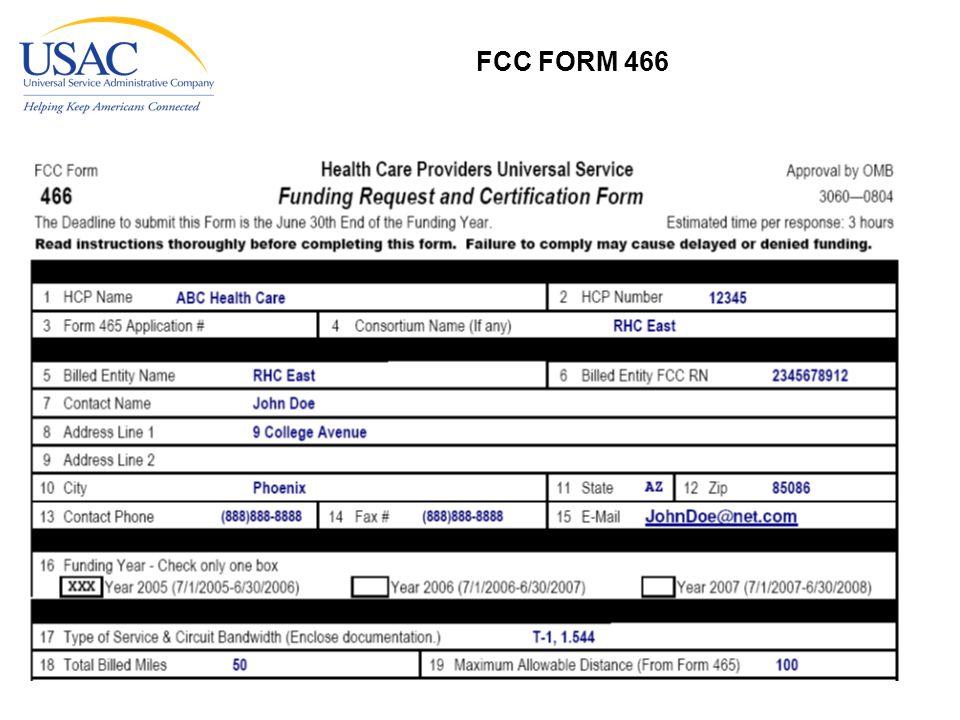 FCC FORM 466