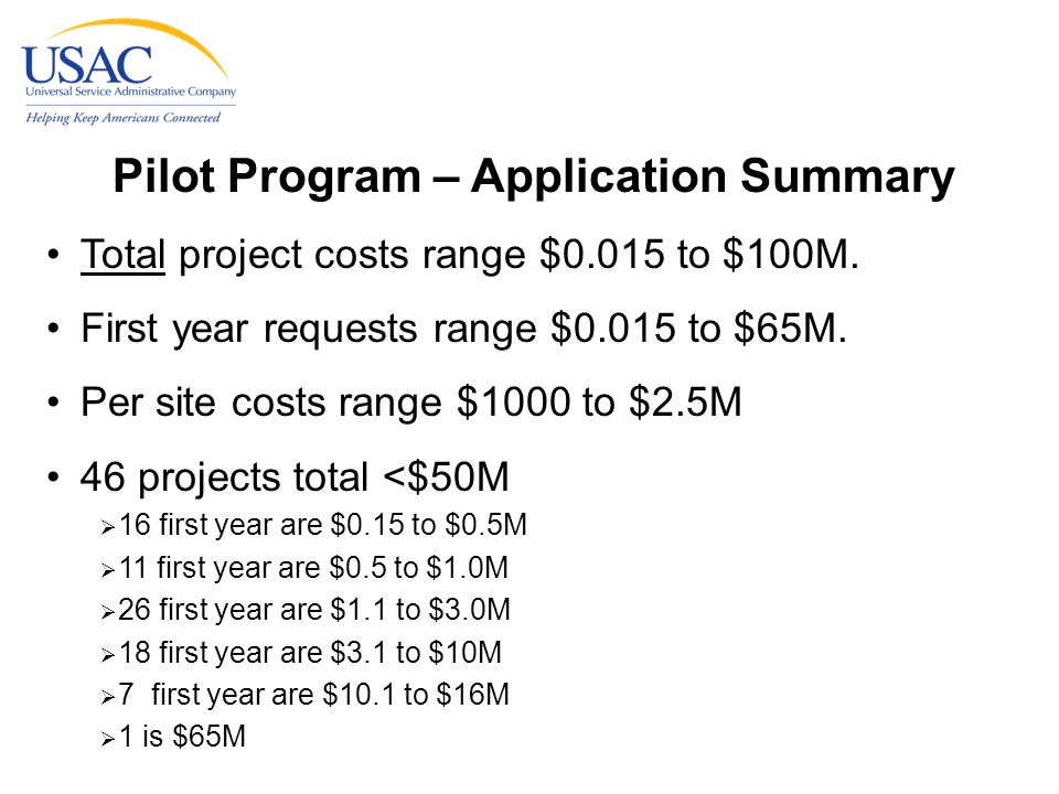 Pilot Program – Application Summary Total project costs range $0.015 to $100M.