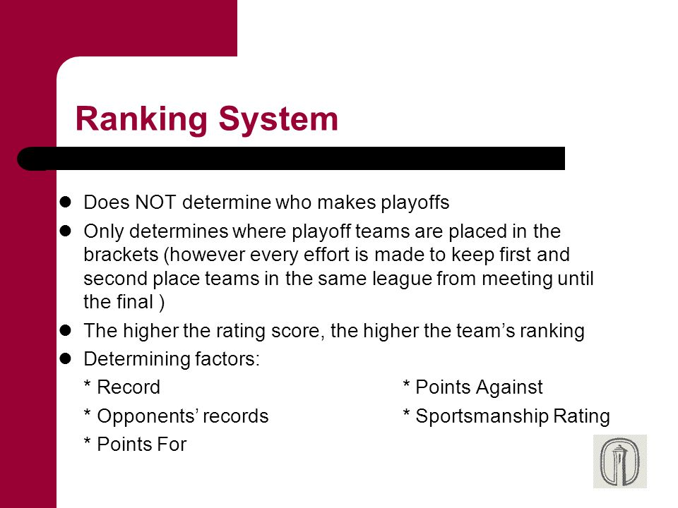 Sportsmanship Rating Determined by the officials and supervisors of the game Scale is 0 – 10.0 Must average 8.0 to be considered for playoffs Forfeits and No Shows do not count toward the average