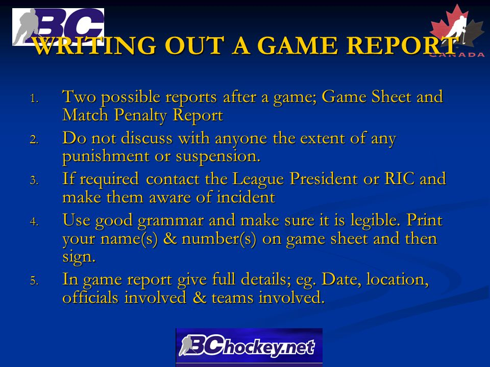 WRITING OUT A GAME REPORT 1.