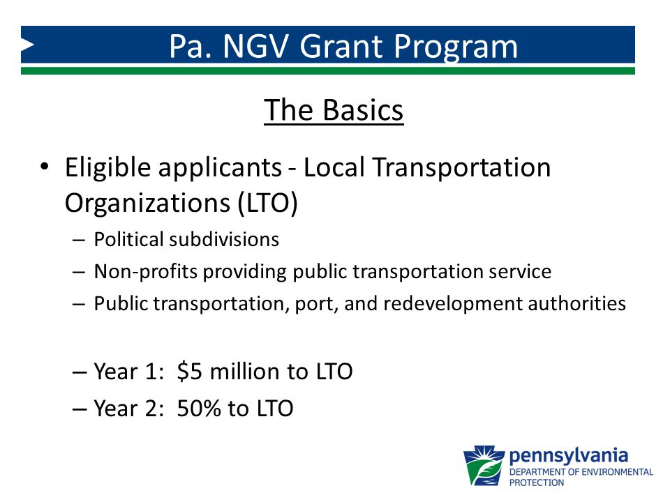 Eligible applicants - Local Transportation Organizations (LTO) – Political subdivisions – Non-profits providing public transportation service – Public