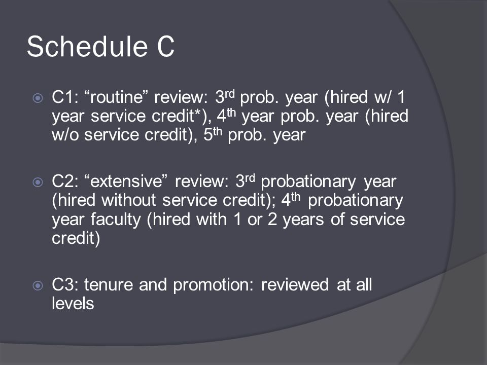 Schedule C  C1: routine review: 3 rd prob.