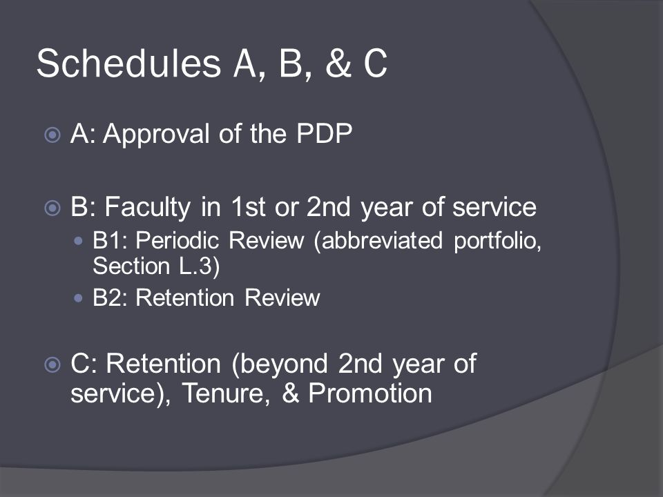 Schedules A, B, & C  A: Approval of the PDP  B: Faculty in 1st or 2nd year of service B1: Periodic Review (abbreviated portfolio, Section L.3) B2: Retention Review  C: Retention (beyond 2nd year of service), Tenure, & Promotion