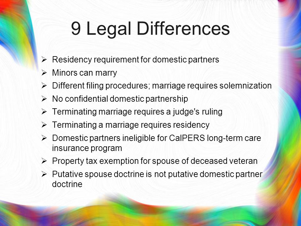 1: Residency First, although the domestic partnership provisions require that both partners have a common residence at the time a domestic partnership is established (§ 297, subd.