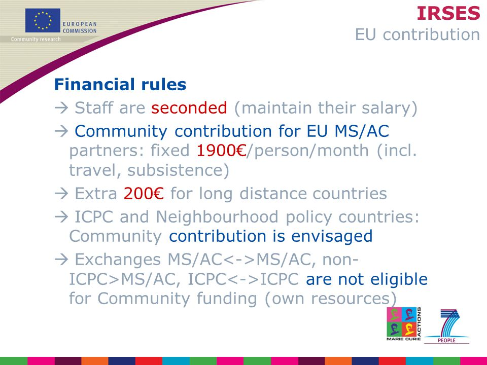 IRSES EU contribution Financial rules  Staff are seconded (maintain their salary)  Community contribution for EU MS/AC partners: fixed 1900€/person/month (incl.