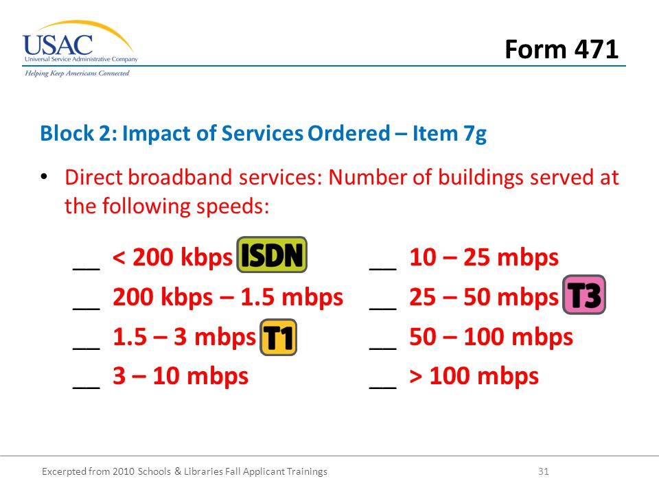 Excerpted from 2010 Schools & Libraries Fall Applicant Trainings 31 Direct broadband services: Number of buildings served at the following speeds: __ < 200 kbps__ 10 – 25 mbps __ 200 kbps – 1.5 mbps__ 25 – 50 mbps __ 1.5 – 3 mbps__ 50 – 100 mbps __ 3 – 10 mbps__ > 100 mbps Block 2: Impact of Services Ordered – Item 7g Form 471