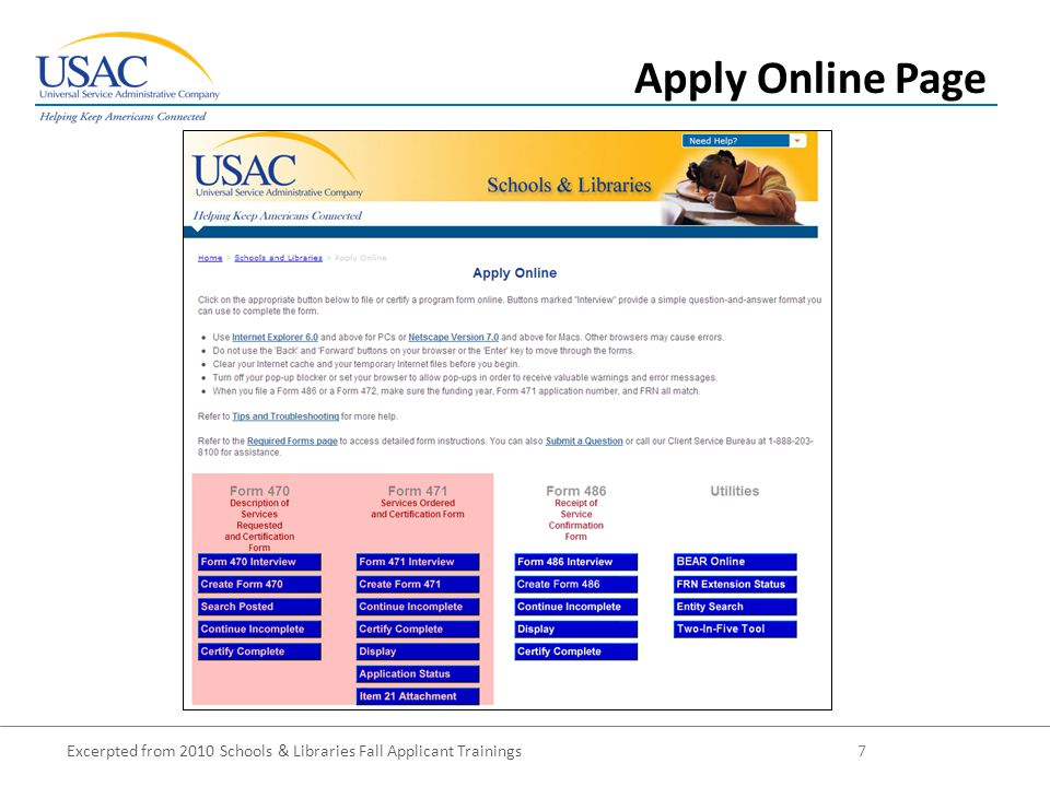 Excerpted from 2010 Schools & Libraries Fall Applicant Trainings 8 Apply Online Page - Detail