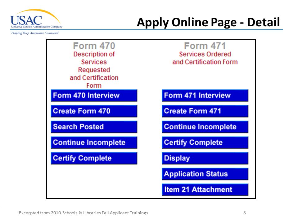 Excerpted from 2010 Schools & Libraries Fall Applicant Trainings 19 Revised FCC Forms 470 and 471 Form 470