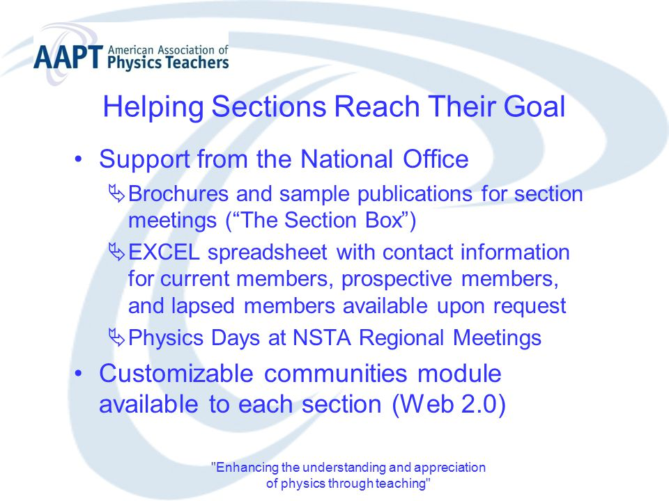 Enhancing the understanding and appreciation of physics through teaching Helping Sections Reach Their Goal Support from the National Office  Brochures and sample publications for section meetings ( The Section Box )  EXCEL spreadsheet with contact information for current members, prospective members, and lapsed members available upon request  Physics Days at NSTA Regional Meetings Customizable communities module available to each section (Web 2.0)