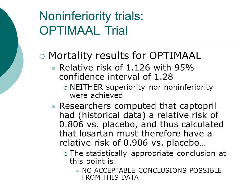 Noninferiority trials: OPTIMAAL Trial  Mortality results for OPTIMAAL Relative risk of 1.126 with 95% confidence interval of 1.28  NEITHER superiority nor noninferiority were achieved Researchers computed that captopril had (historical data) a relative risk of 0.806 vs.