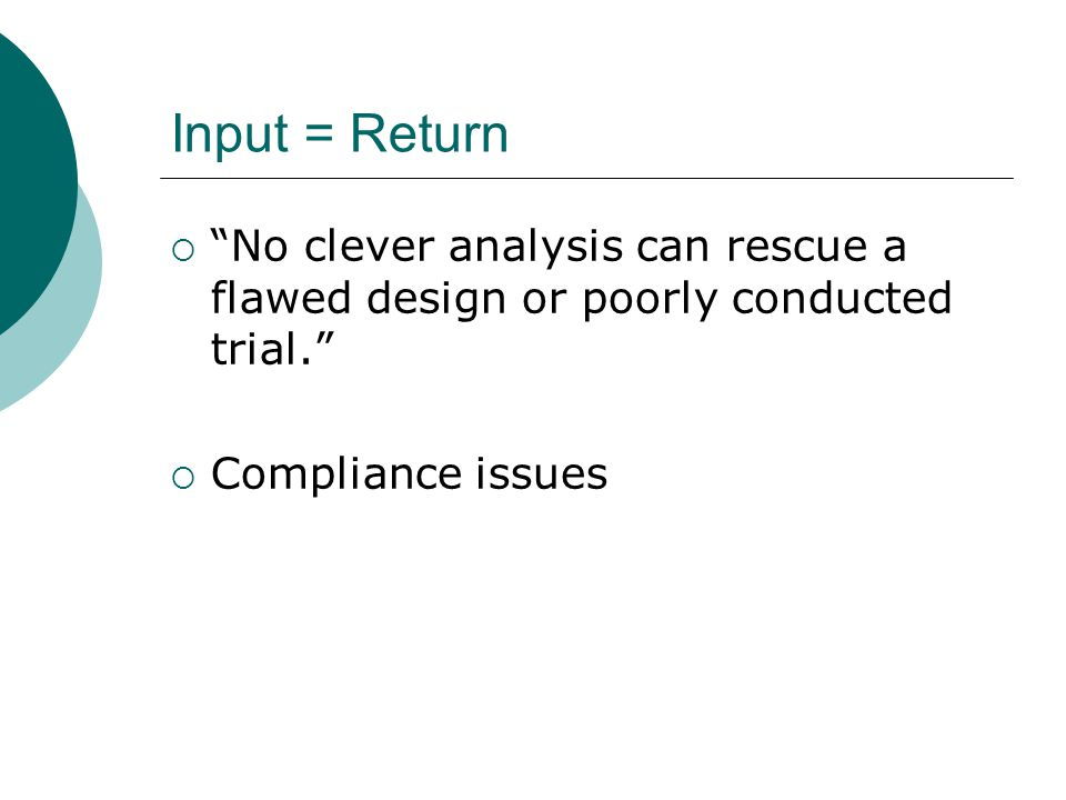 Statistical Issue 4: Missing data  Missing data is often simply dropped  This violates two rules: 1.