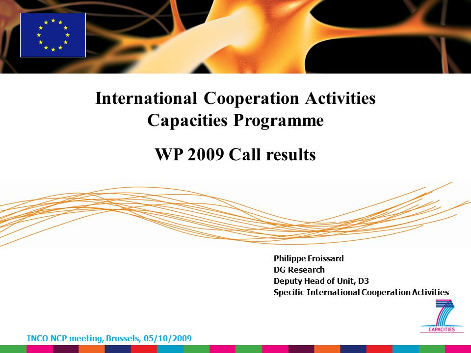 INCO NCP meeting, Brussels, 05/10/2009 Call FP7-2009-INCO-2 BILAT – Statistics CountryProposalsParticipantsTotal Cost EC contribution Average per participants Argentina18624.549499.54962.444 Canada3142.172.0401.496.005106.858 Egypt14499.987 124.997 Japan5182.507.2212.481.141137.841 Jordan16499.048 83.175 USA15713.063499.90499.981 Total12557.015.9085.975.634108.648