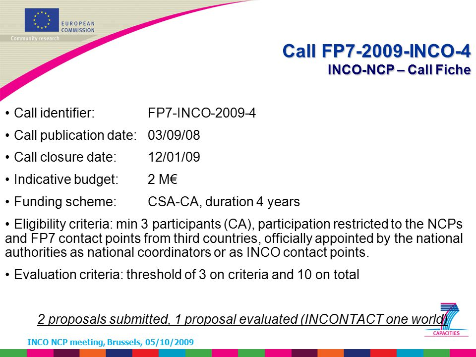 INCO NCP meeting, Brussels, 05/10/2009 Call identifier: FP7-INCO-2009-4 Call publication date: 03/09/08 Call closure date: 12/01/09 Indicative budget: 2 M€ Funding scheme: CSA-CA, duration 4 years Eligibility criteria: min 3 participants (CA), participation restricted to the NCPs and FP7 contact points from third countries, officially appointed by the national authorities as national coordinators or as INCO contact points.