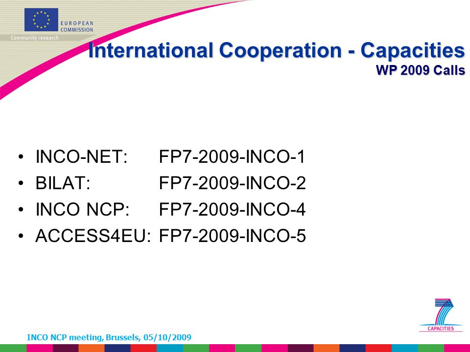 INCO NCP meeting, Brussels, 05/10/2009 Call FP7-2009-INCO-5 ACCESS4EU – Statistics Target country Other Associated Countries Member States Latin America EECAAfricaAsiaTotal Australia2 2 4 Brazil 12011 32 Canada3 3 6 China 110 21 India 4 37 Japan816 15 Mexico 93 12 New Zealand2 2 4 Russia 22 14 36 South Africa 4 1 5 South Korea3 7 10 USA5 16 21 Total23310514 113173