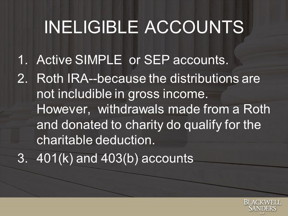 INELIGIBLE ACCOUNTS 1.Active SIMPLE or SEP accounts.
