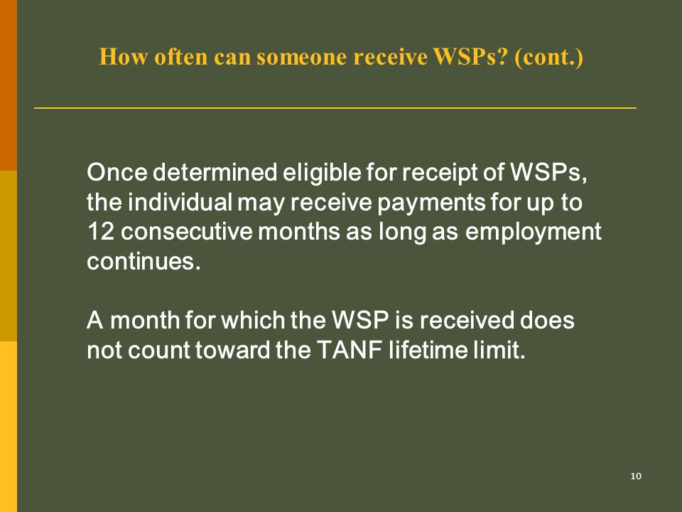 10 How often can someone receive WSPs? (cont.) Once determined eligible for receipt of WSPs, the individual may receive payments for up to 12 consecut