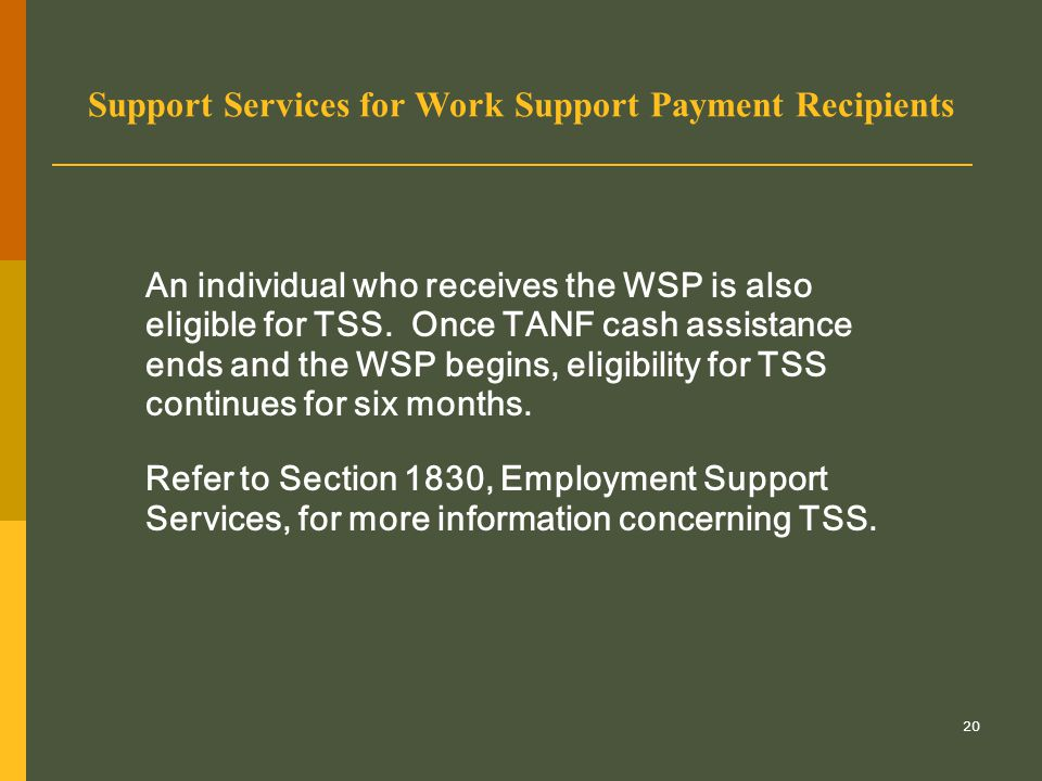 20 Support Services for Work Support Payment Recipients An individual who receives the WSP is also eligible for TSS. Once TANF cash assistance ends an