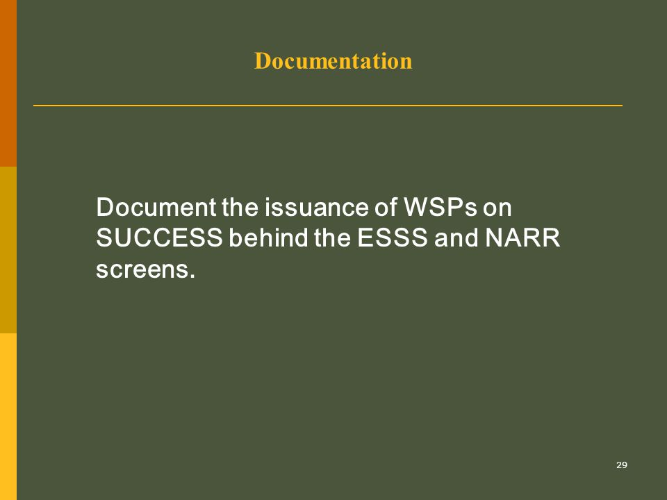 29 Documentation Document the issuance of WSPs on SUCCESS behind the ESSS and NARR screens.