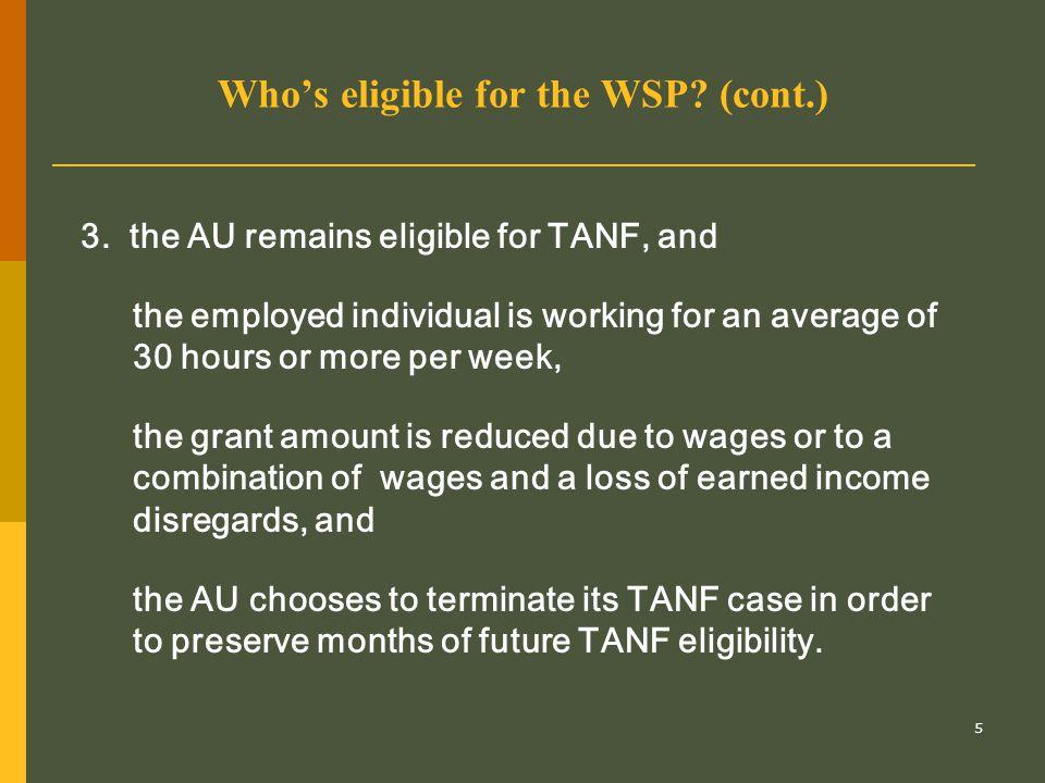 16 Can a two-parent AU receive WSPs.