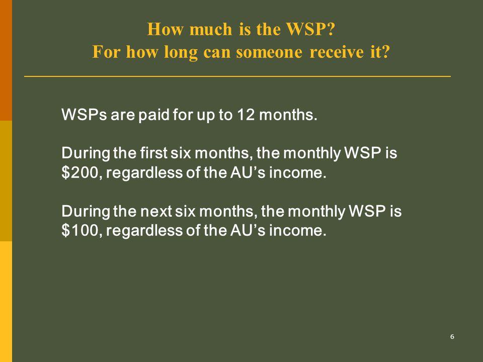 17 Can a two-parent AU receive WSPs.