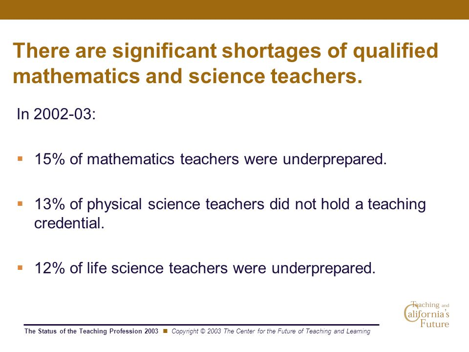 The Status of the Teaching Profession 2003 Copyright © 2003 The Center for the Future of Teaching and Learning There are significant shortages of qualified mathematics and science teachers.