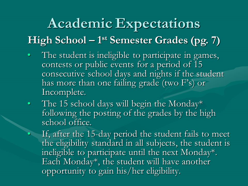 Academic Expectations The student is ineligible to participate in games, contests or public events for one week beginning on the Monday* following the posting of the grades and ending on the following Monday*.The student is ineligible to participate in games, contests or public events for one week beginning on the Monday* following the posting of the grades and ending on the following Monday*.