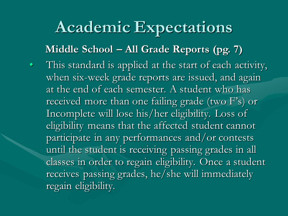 Academic Expectations For fall sports and activities that begin competition before the opening day of school, the second semester grades from the previous school year are used to determine eligibility.For fall sports and activities that begin competition before the opening day of school, the second semester grades from the previous school year are used to determine eligibility.