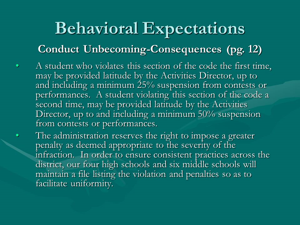 Behavioral Expectations Conduct Unbecoming Examples (pg.