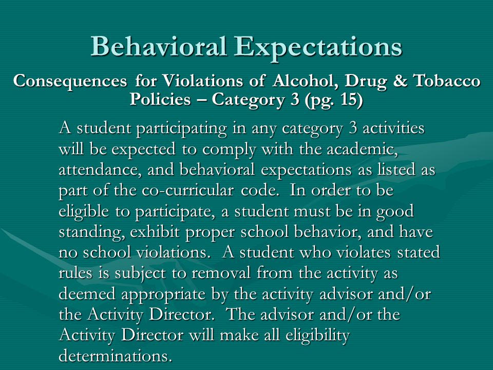 Behavioral Expectations Second Violation: Suspension from participating in 50% of the activities contests/events scheduled which the student is in at the time of the violation.