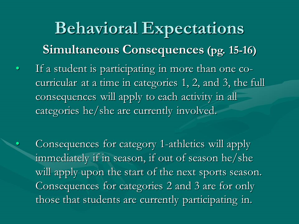 Behavioral Expectations Penalties will be cumulative over a student's middle school career.