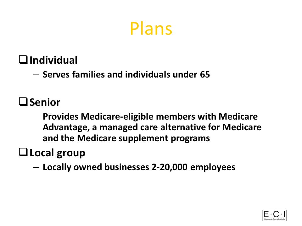 Plans  Individual – Serves families and individuals under 65  Senior Provides Medicare-eligible members with Medicare Advantage, a managed care alternative for Medicare and the Medicare supplement programs  Local group – Locally owned businesses 2-20,000 employees