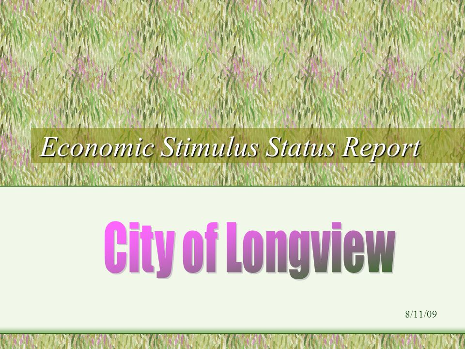 Economic Stimulus Status Report 8/11/09