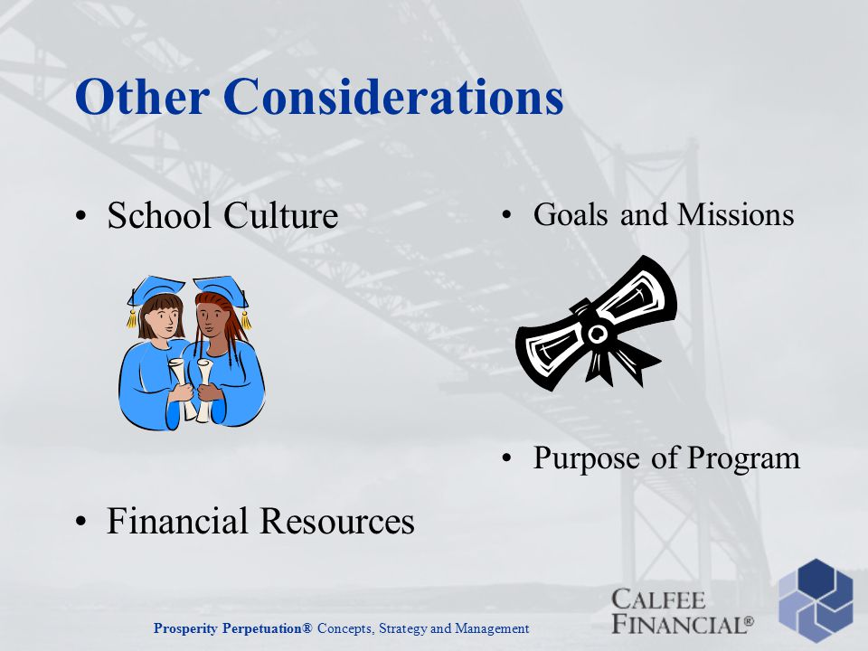 Prosperity Perpetuation® Concepts, Strategy and Management Other Considerations School Culture Financial Resources Goals and Missions Purpose of Program