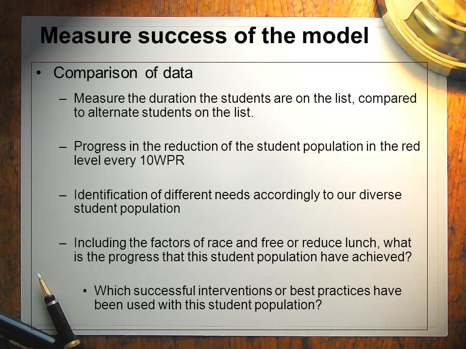 Measure success of the model Comparison of data –Measure the duration the students are on the list, compared to alternate students on the list.