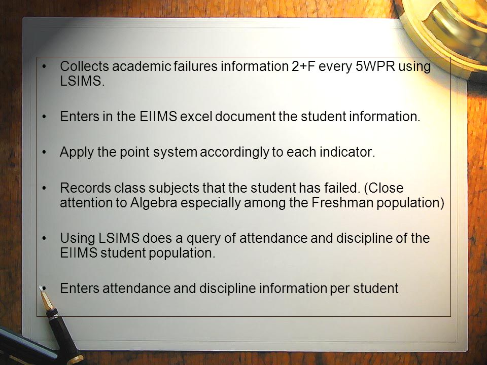Collects academic failures information 2+F every 5WPR using LSIMS.