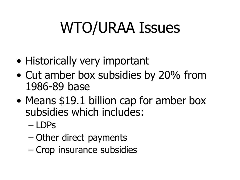 WTO/URAA Issues Historically very important Cut amber box subsidies by 20% from 1986-89 base Means $19.1 billion cap for amber box subsidies which inc