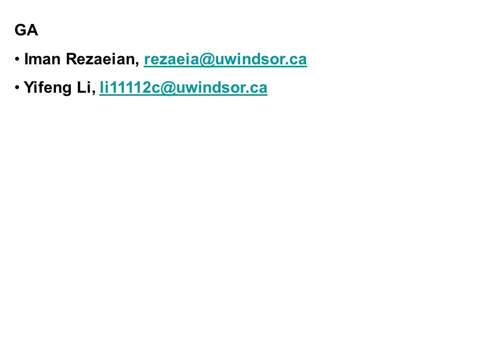 GA Iman Rezaeian, rezaeia@uwindsor.carezaeia@uwindsor.ca Yifeng Li, li11112c@uwindsor.cali11112c@uwindsor.ca