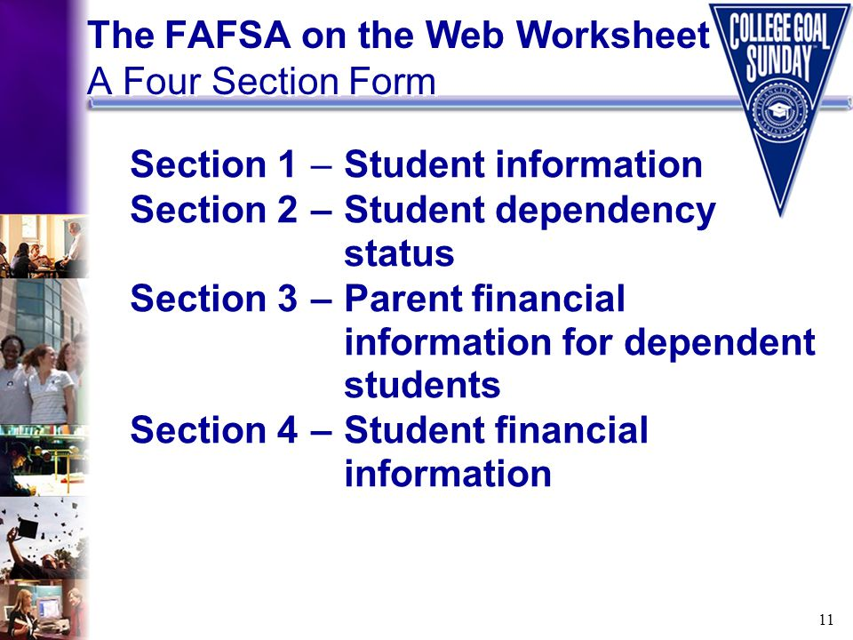 11 The FAFSA on the Web Worksheet A Four Section Form Section 1–Student information Section 2–Student dependency status Section 3–Parent financial inf