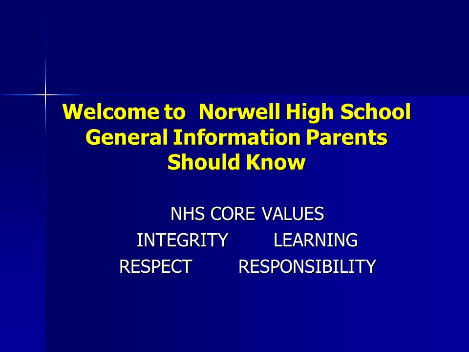 Welcome to Norwell High School General Information Parents Should Know NHS CORE VALUES NHS CORE VALUES INTEGRITY LEARNING INTEGRITY LEARNING RESPECT RESPONSIBILITY RESPECT RESPONSIBILITY