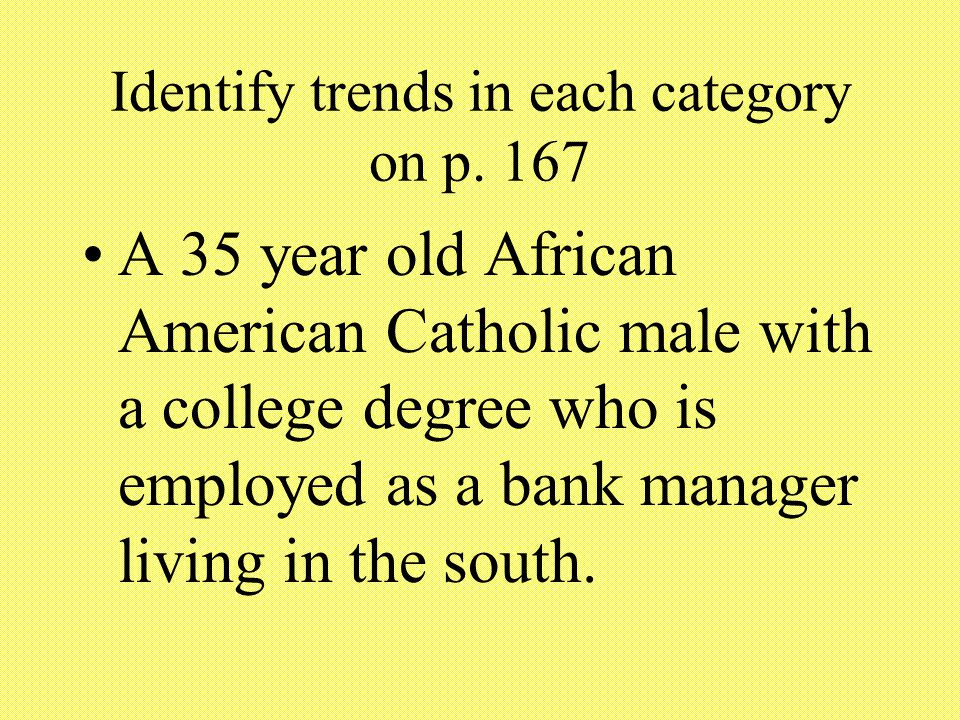 Identify trends in each category on p.