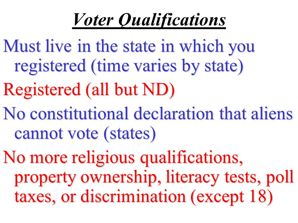 15 th Amendment 1870-the right to vote cannot be denied to any citizen of the US because of race, color, or previous condition of servitude Passed but the gov't paid little attention to the AA right to vote.